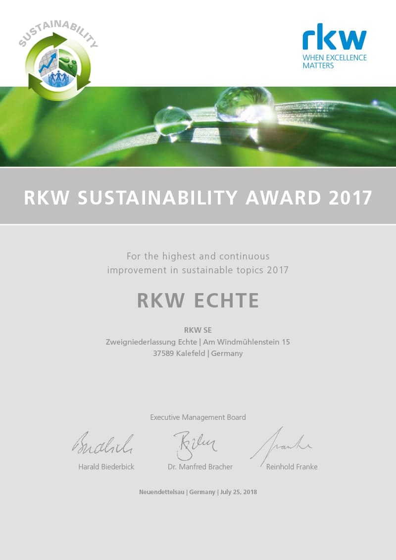 RKW_Sustainability_Award_2018_Urkunde_Echte